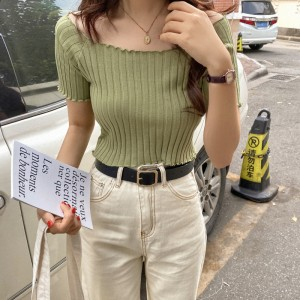 Short Sleeve Body Fitted T Shirt Base Sweater - Green