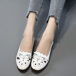 Hollow Textured Slip Over Flat Shoes - White