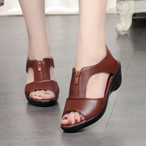 Zipper Closure Thick Bottom Synthetic Leather Sandals - Brown