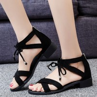 Lace Closure Vintage Style Flat Wear Fashion Sandals - Black