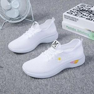 Breathable Flower Thread Art Sports Wear Sneakers - White