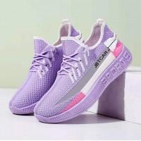 Rubber Sole Lace Closure Sports Wear Sneakers - Purple