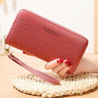 Double Zipper Synthetic Leather Women Fashion Wallet - Pink