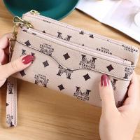Zipper Closure Multi Side Printed Wristlet Wallet - Khaki