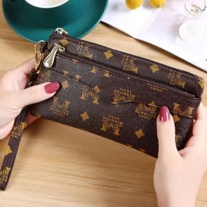 Zipper Closure Multi Side Printed Wristlet Wallet - Brown