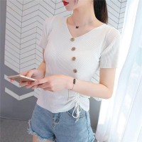 Short Sleeve V Neck Solid Color Fashion Button Top - White