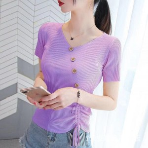 Short Sleeve V Neck Solid Color Fashion Button Top - Purple