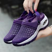 Slip Over Flat Wear Rubber Sole Breathable Sandals - Purple