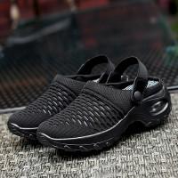 Slip Over Flat Wear Rubber Sole Breathable Sandals - Black