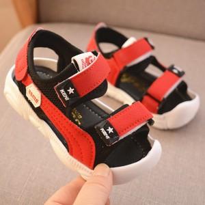 Cute Kids Wear Velcro Closure Slipper Sandals - Red