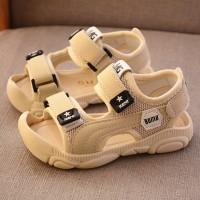 Cute Kids Wear Velcro Closure Slipper Sandals - Khaki