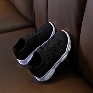 Slip Over Rubber Sole Cute Kids Wear Sneakers - Black