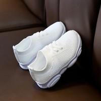 Slip Over Rubber Sole Cute Kids Wear Sneakers - White