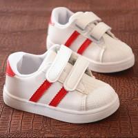 Velcro Closure Cute Kids Wear Sneakers - Red