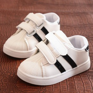 Velcro Closure Cute Kids Wear Sneakers - Black