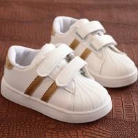 Velcro Closure Cute Kids Wear Sneakers - Golden