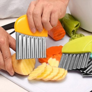 Stainless Steel Potato French Fries Knife Slicer - Yellow
