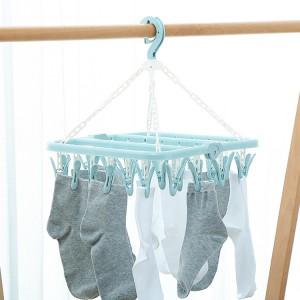 32 Clip Folding Windproof Clothes Hangers - Light Blue