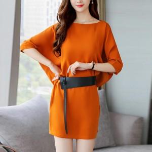 Waist Belt Solid Color Mini Dress - Orange