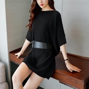 Waist Belt Solid Color Mini Dress - Black