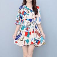 V Neck Half Sleeved Digital Printed Mini Dress
