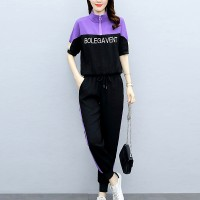 Two Pieces Contrast Sports Wear Trouser With Top - Purple