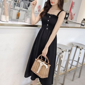 Strap Shoulder Button Up A-Line Midi Dress - Black