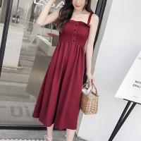 Strap Shoulder Button Up A-Line Midi Dress - Red