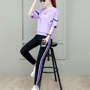 Contrast Two Pieces Solid Color Sports Wear Suit - Purple