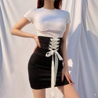 Ribbon Lace Braided Closure Body Fitted Mini Dress