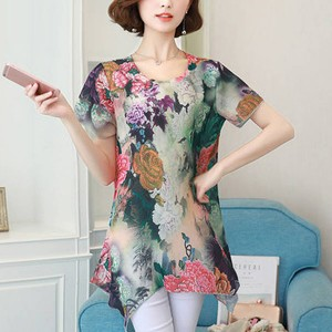 Round Neck Floral Printed Short Sleeves Blouse Top