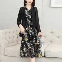 Chiffon Thin Fabric Outwear Doll Neck Midi Dress - Black