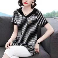 Stripes Printed Hoodie Neck Short Sleeves Blouse Top - Black