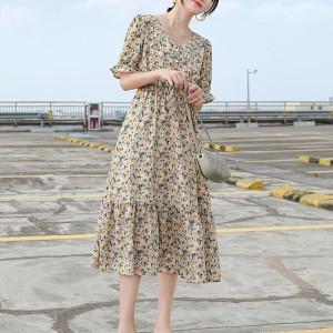 Floral Printed Ruffled Hem V Neck Short Sleeves Midi Dress - Yellow