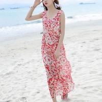 Thin Fabric Printed Round Neck Sleeveless Maxi Dress - Red