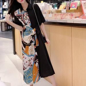 Digital Printed Contrast Shirt Collar Midi Dress - Multicolor