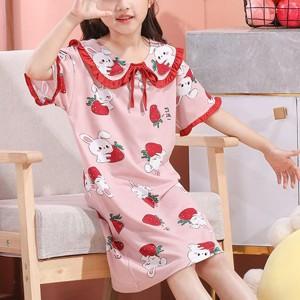 Rabbit Strawberry Cute Wear Nightwear Girls Pajama Dress