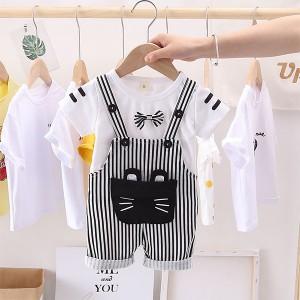 Round Neck Boy Striped Cute Kids Wear Matching Set - Black and White