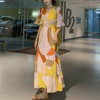 Digital Polka Printed With Contrast Full Length Maxi Dress