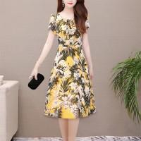 Round Neck Short Sleeves A-Line Mini Dress