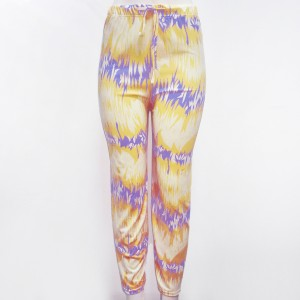 Chiffon Elastic Waist Casual Wear Trousers - Yellow