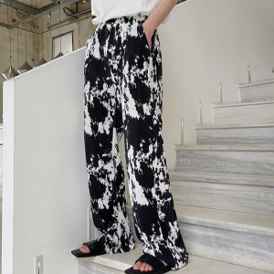 Elastic Waist Casual Wear Trousers - Black and White