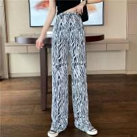 Zebra Elastic Waist Casual Wear Trousers - White Black