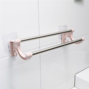 Double Pole Wall Attachable Towel Cloth Hanger - Pink