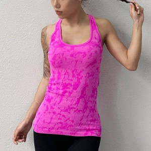 Sleeveless Halter Neck Sports Wear Fitted Top - Hot Pink