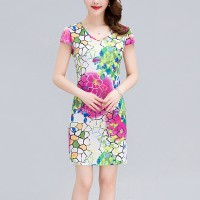 Mosaic Pattern V Neck Fitted Mini Dress