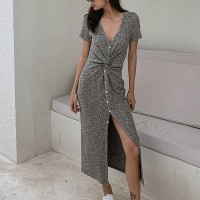 Button Up Deep V Neck Split Hem Short Sleeves Dress