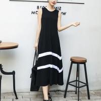 Round Neck Sleeveless Black and White Full Length Dress