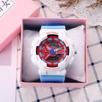 Plastic Digital Analogue Dial Buckle Closure Wrist Watch - White
