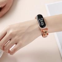 Plastic Digital Analogue Dial Buckle Closure Wrist Watch - Pink